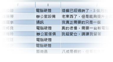 匯入資料的 Excel 表格