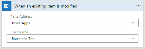 Sharepoint - When an existing item is modified trigger with site address and list name
