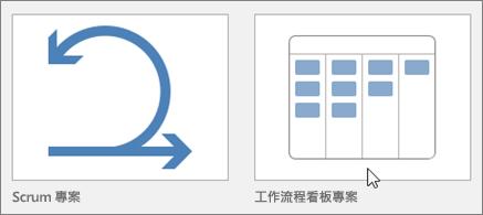 代表 [Scrum 專案和 Kanban 專案範本] 方塊的螢幕擷取畫面