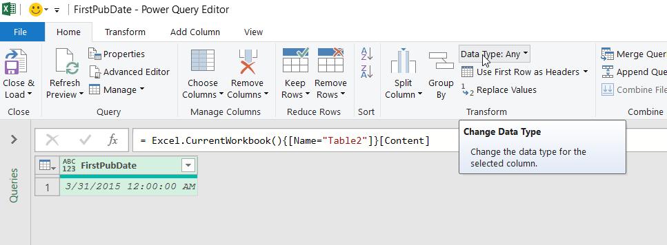在 Power Query 編輯器功能區的 [常用] 索引標籤上,將滑鼠移至 [轉換] 群組中的 [資料類型] 命令。