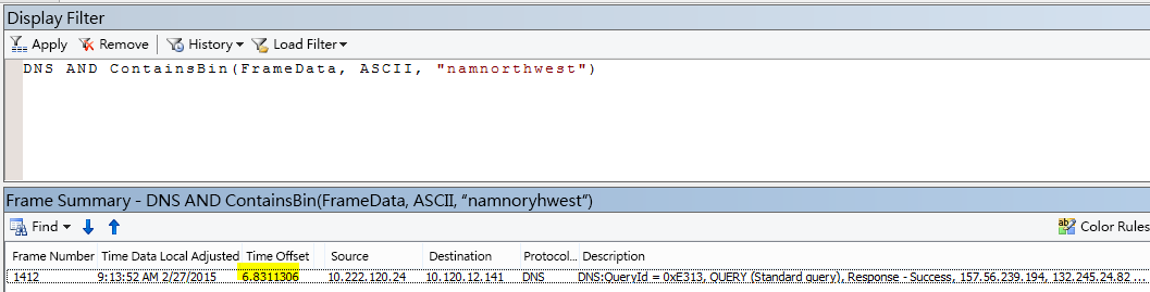 """以 DNS AND CONTAINSBIN(Framedata, ASCII, """"namnorthwest"""") 篩選的其他 Netmon 結果,其中顯示要求與回應之間的時間位移極低。"""