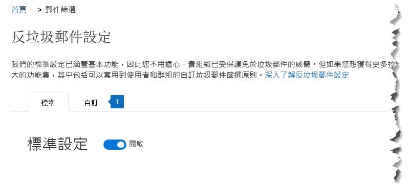 此螢幕擷取畫面會顯示 [安全性與規範中心反垃圾郵件設定] 頁面上的 [自訂] 索引標籤的位置。