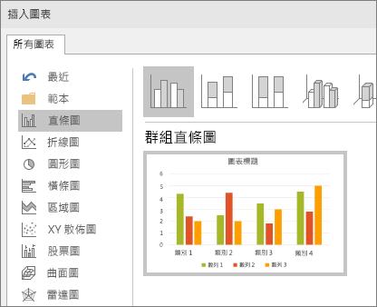 在 PowerPoint 中顯示直條圖選取範圍