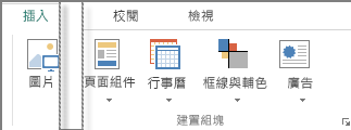 Publsiher 中 [插入] 索引標籤上 [建置組塊] 群組的螢幕擷取畫面。