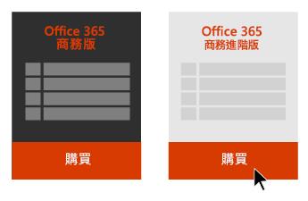 [Office 365 商務版] 和 [Office 365 商務進階版] 的選項,有箭頭指向 Office 365 商務進階版下方的 [購買] 按鈕。