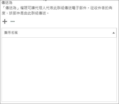 螢幕擷取畫面︰ 選擇加號以新增您想要傳送的 Office 365 群組的使用者
