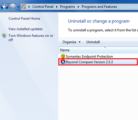 Select the program you want to uninstall by clicking on it.