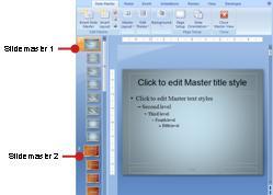 兩張投影片母片及相關版片配置