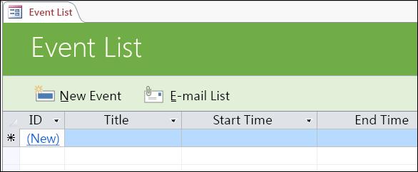 存取事件資料庫範本中的事件清單表單