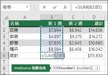 儲存格 B6 顯示自動加總的加總公式︰=SUM(B2:B5)