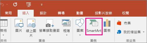 顯示 [插入] 索引標籤中的 [SmartArt] 按鈕