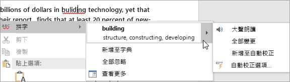 顯示 Word 文件中的拼字錯誤