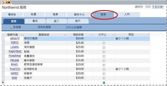 服務資料庫範本的 [進階] 索引標籤