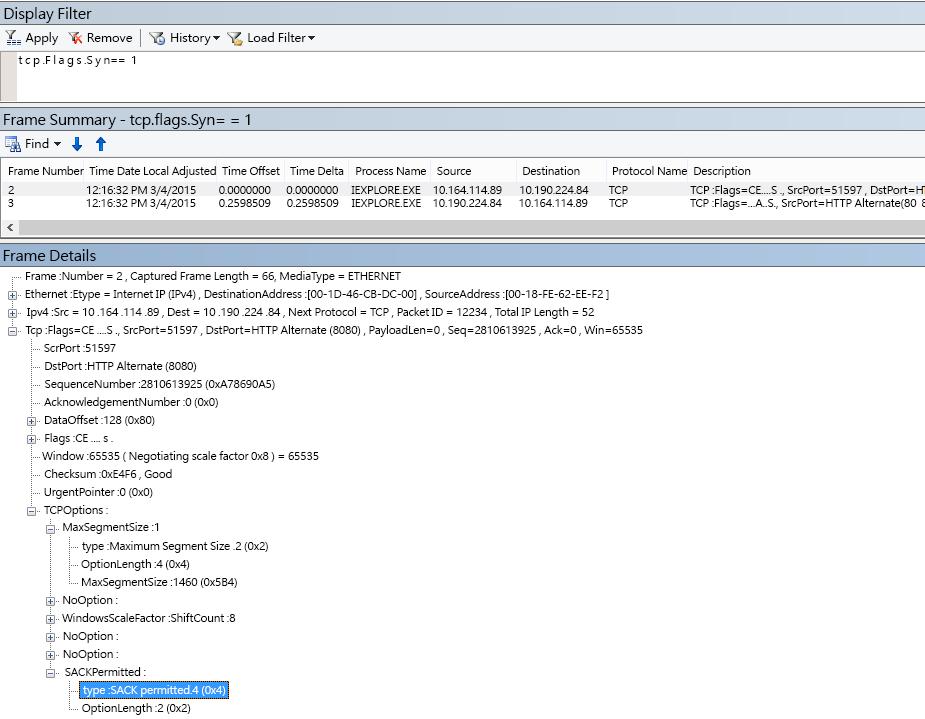 執行 tcp.flags.syn == 1 後顯示於 Netmon 中的選擇性確認 (SACK)。