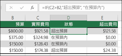 "儲存格 D2 中的公式是 =IF(C2>B2,""Over Budget"",""Within Budget"")"