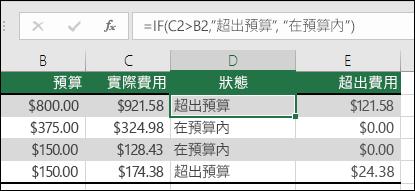"儲存格 D2 中的公式是 =IF(C2>B2,""Over Budget"",""Within Budget"")"