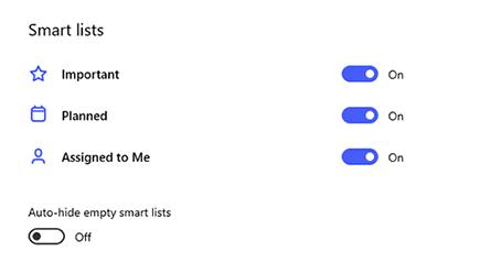 [設定] 中的智慧清單螢幕擷取畫面,其中包含重要、已規劃且已指派給我的已切換,以及自動隱藏空白的智慧清單。