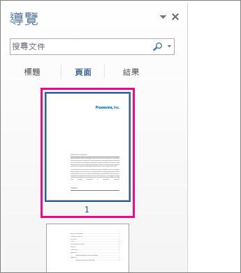[功能窗格] 中的頁面縮圖