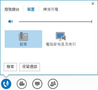 音訊通話控制項的螢幕擷取畫面