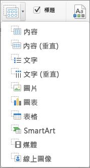Mac 版 PowerPoint [插入版面配置區]