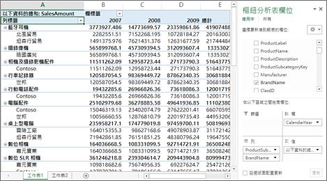 顯示範例資料的樞紐分析表