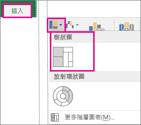 Windows 版 Office 2016 中 [插入] 索引標籤上的 [樹狀圖] 選項