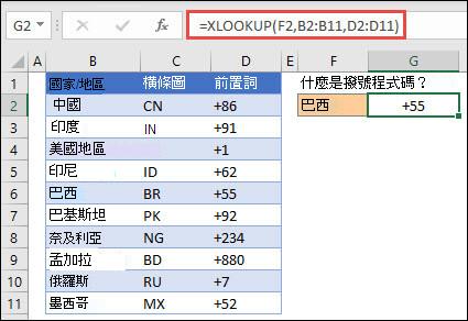 XLOOKUP 函數的範例,用來根據員工識別碼來退回員工名稱和部門。 公式為 =XLOOKUP (B2,B5:B14,C5:C14) 。
