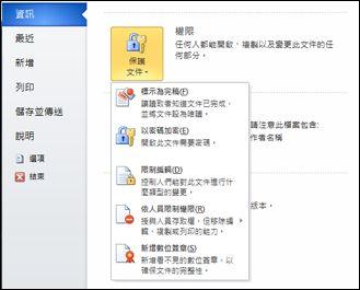 [保護文件] 按鈕以及選項