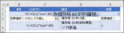 CELL 函數範例