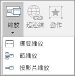 顯示當您移至 [插入] > [縮放] 時,可以選取的不同縮放類型:摘要縮放、投影片縮放、節縮放。