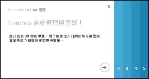 Azure 導覽的 [歡迎] 頁面螢幕擷取畫面,該頁面會花 30 秒為您顯示如何使用管理入口網站,以建立及管理雲端資源。