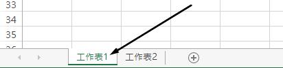 Excel 工作表索引標籤的 [Excel] 視窗的底部。