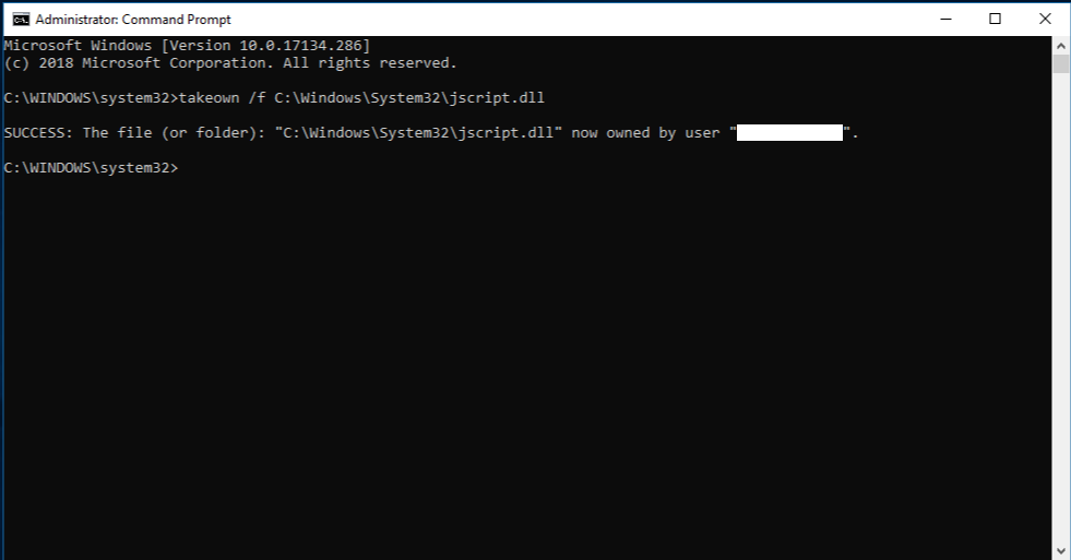 Command Prompt with administrator rights - command succeeded