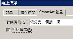 顯示 [相反順序] 核取方塊的部分 [SmartArt 動畫] 索引標籤