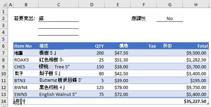 不含自訂函數的 [範例訂單] 表單