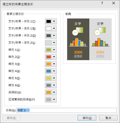 在 PowerPoint 中顯示自訂佈景主題色彩對話方塊