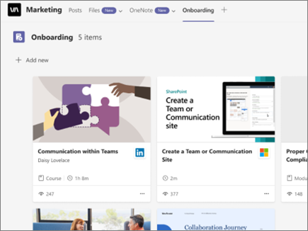Viva Learning 的螢幕擷取畫面搭配索引標籤,有一個加號 [新增] 可釘選新內容,以及範例學習內容