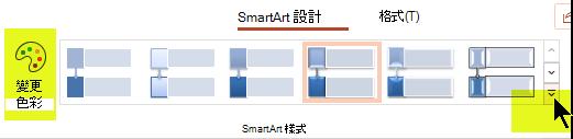 您可以使用功能區 [SmartArt 設計] 索引標籤上的選項, 變更圖形的色彩或樣式。