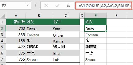 使用傳統的 VLOOKUP 與單一 lookup_value 參照: = VLOOKUP (A2、A:C、32、FALSE) 。 此公式不會傳回動態陣列,但可與 Excel 表格搭配使用。