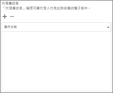 螢幕擷取畫面: 選擇加號以新增您想要傳送的 Office 365 群組的使用者