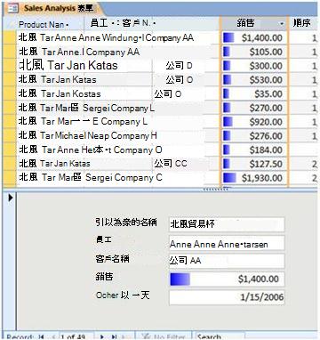 以 [分割表單] 檢視顯示資料列
