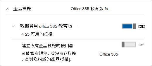 在 Office 365 中新增使用者的螢幕擷取畫面,顯示已展開的 [產品授權] 區段。