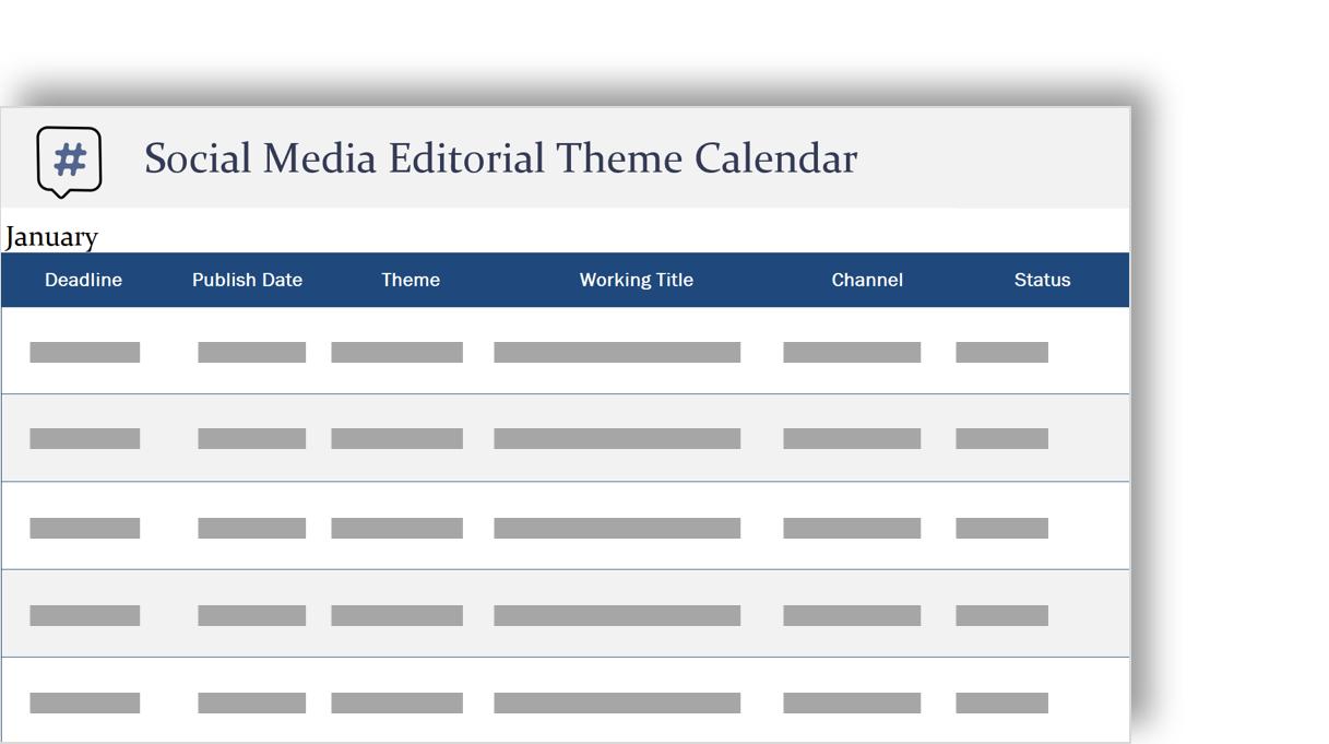 社交媒體編輯佈景主題行事曆的概念性圖像