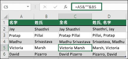 """使用 =A2&"""" """"&B2 來將文字串連成「名字 姓氏」的格式"""