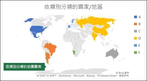 依類別顯示包含國家/地區之類別的 Excel 地圖圖表