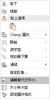 圖像的 Excel Win32 [編輯替代文字] 功能表