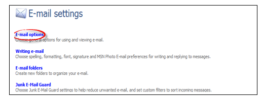 MSN Email settings, options