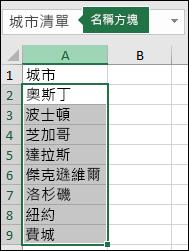 在 [地址] 方塊中選取的具名範圍 (包含名稱)
