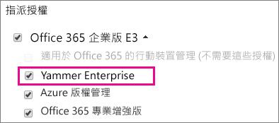 Office 365 系統管理中心的 [指派授權] 區段可指派 Yammer 企業授權的螢幕擷取畫面。