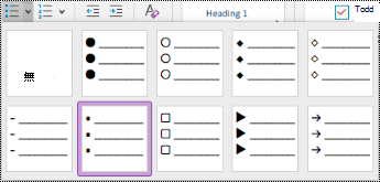 Mac 中的 [項目符號清單] 下拉式功能表。